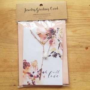 Card and envelope set with earrings and necklace